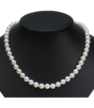 8-9mm White Cultured Freshwater AA Quality Pearl Necklace with a 14Kt White Gold Clasp
