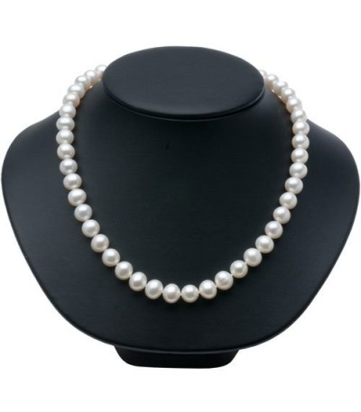 9-10mm White Cultured Freshwater AA Quality Pearl Necklace with a 14Kt White Gold Clasp