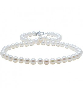 9-10mm White Cultured Freshwater AA quality Pearl Necklace with a 925 Sterling Silver Clasp