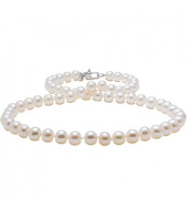 Necklaces - 9-10mm White Cultured Freshwater AA quality Pearl Necklace with a 925 Sterling Silver Clasp
