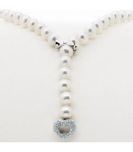 Necklaces - Adjustable Pearl Lariat Necklace With 14Kt Gold Heart Clasp