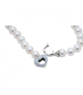 Adjustable Pearl Lariat Necklace With 14Kt Gold Heart Clasp