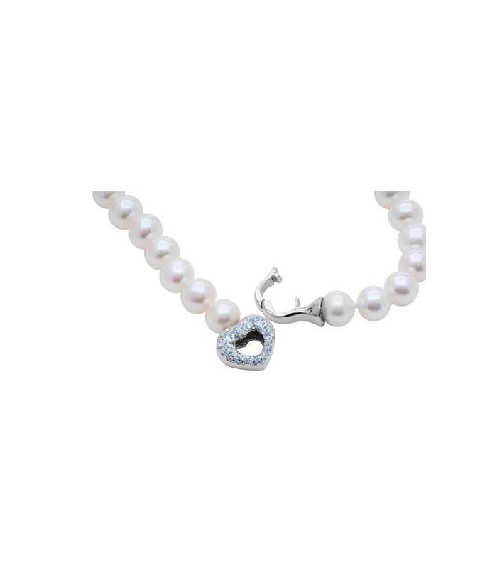 Pearl Lariat Necklace With 14 Kt Gold Heart Clasp I Amoro