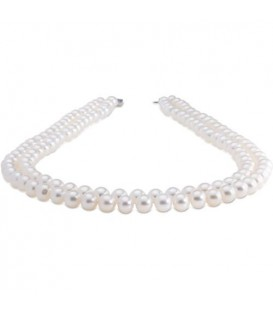 Necklaces - 7-8mm White Cultured Freshwater AA quality Pearl Necklace with a 14Kt White Gold Clasp
