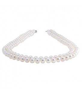 Necklaces - 7-8mm White Cultured Freshwater AA quality Pearl Necklace with a 925 Sterling Silver Clasp