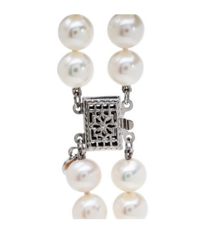 7-8mm White Cultured Freshwater AA quality Pearl Necklace with a 925 Sterling Silver Clasp