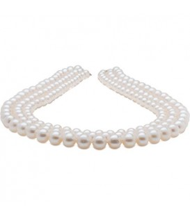 Necklaces - 7-10mm White Cultured Freshwater AA quality Pearl Necklace with a 14Kt White Gold Clasp