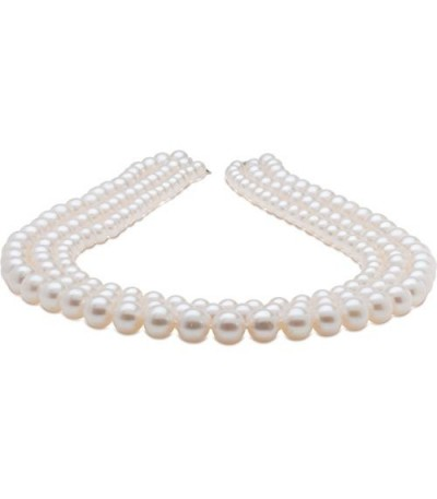 Necklaces - 7-10mm White Cultured Freshwater AA Quality Pearl Triple Strand with a 925 Sterling Silver Clasp