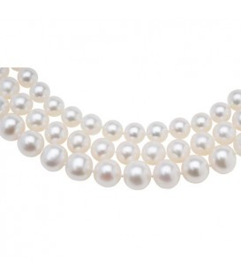 7-10mm White Cultured Freshwater AA Quality Pearl Triple Strand with a 925 Sterling Silver Clasp
