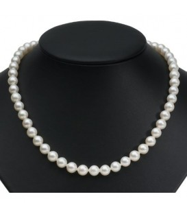 White Cultured Freshwater Pearl Necklace 9-10mm with a 925 Sterling Silver Clasp