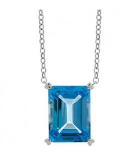 Necklaces - 13 Carat Blue Topaz in 925 Sterling Silver Necklace
