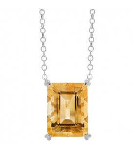 Necklaces - 10 Carat Citrine in 925 Sterling Silver Necklace