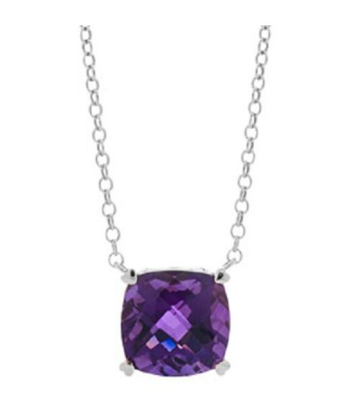 Necklaces - 7 Carat Amethyst in 925 Sterling Silver Necklace