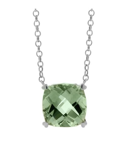 Necklaces - 7 Carat Praseolite in 925 Sterling Silver Necklace