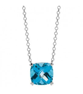 Necklaces - 8 Carat Blue Topaz in 925 Sterling Silver Necklace