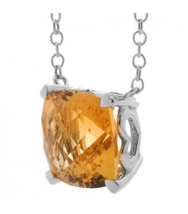 Necklaces - 5.75 Carat Citrine 925 Sterling Silver Necklace