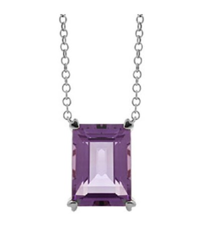 Necklaces - 10 Carat Amethyst Necklace in 14 Karat White Gold