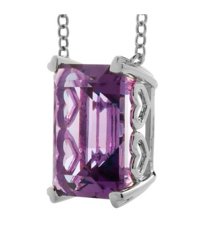 10 Carat Amethyst Necklace in 14 Karat White Gold