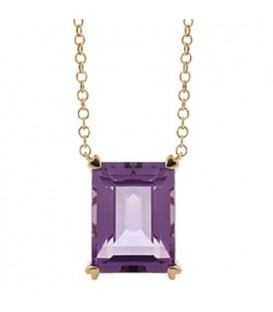 10 Carat Amethyst Necklace in 14 Karat Yellow Gold
