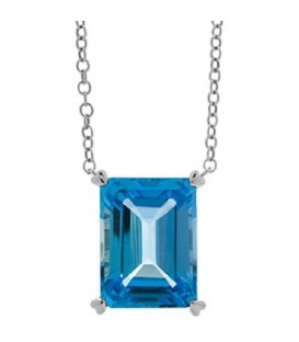Necklaces - 13 Carat Blue Topaz Necklace in 14 Karat White Gold