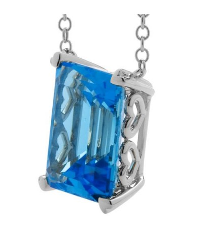 13 Carat Blue Topaz Necklace in 14 Karat White Gold