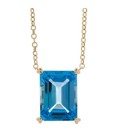 Necklaces - 13 Carat Blue Topaz Necklace in 14 Karat Yellow Gold