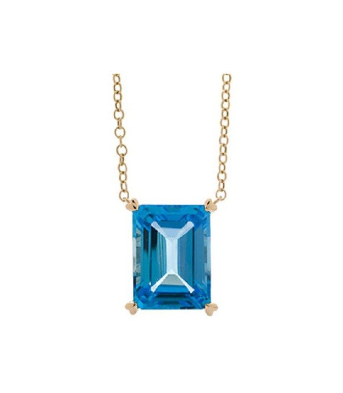 Octagonal Step Cut 13ct Blue Topaz Necklace 14kt Yellow I