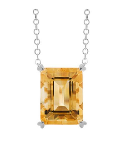 Necklaces - 10 Carat Citrine Necklace in 14 Karat White Gold