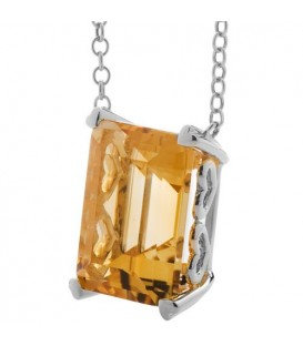 10 Carat Citrine Necklace in 14 Karat White Gold