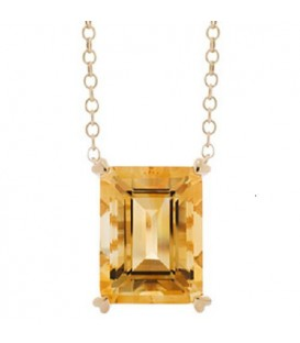 Necklaces - 10 Carat Citrine Necklace in 14 Karat Yellow Gold