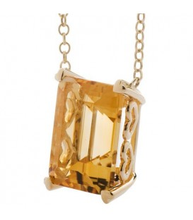 10 Carat Citrine Necklace in 14 Karat Yellow Gold