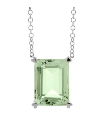 Necklaces - 10 Carat Praseolite Necklace in 14 Karat White Gold