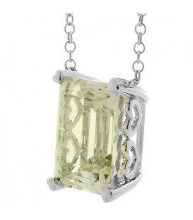 10 Carat Praseolite Necklace in 14 Karat White Gold