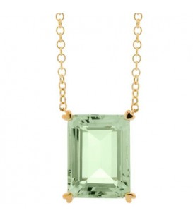 Necklaces - 10 Carat Praseolite Necklace in 14 Karat Yellow Gold