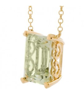 10 Carat Praseolite Necklace in 14 Karat Yellow Gold