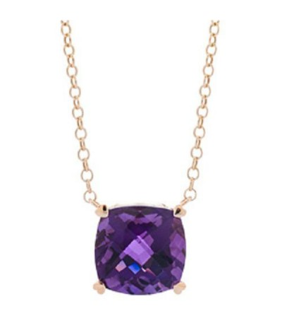 Necklaces - 7 Carat Amethyst Necklace in 14 Karat Yellow Gold