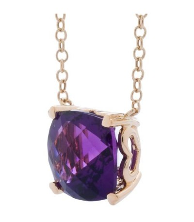7 Carat Amethyst Necklace in 14 Karat Yellow Gold