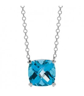 Necklaces - 8 Carat Blue Topaz Necklace in 14 Karat White Gold