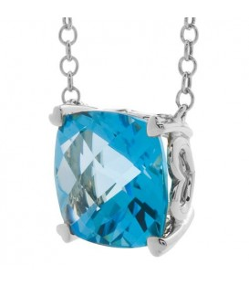 8 Carat Blue Topaz Necklace in 14 Karat White Gold