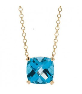 Necklaces - 8 Carat Blue Topaz Necklace in 14Kt Yellow Gold
