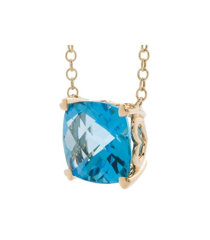 Cushion Cut 8ct Blue Topaz Necklace 14kt Yellow Gold I Amoro
