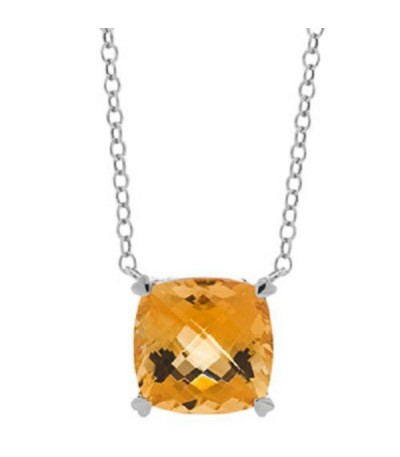 Necklaces - 5.75 Carat Citrine Necklace in 14Kt White Gold
