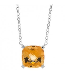 5.75 Carat Citrine Necklace in 14Kt White Gold