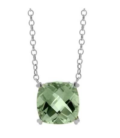 Necklaces - 7 Carat Praseolite Necklace in 14Kt White Gold
