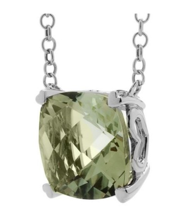 7 Carat Praseolite Necklace in 14Kt White Gold