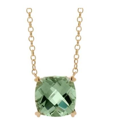 Necklaces - 7 Carat Praseolite Necklace in 14Kt Yellow Gold