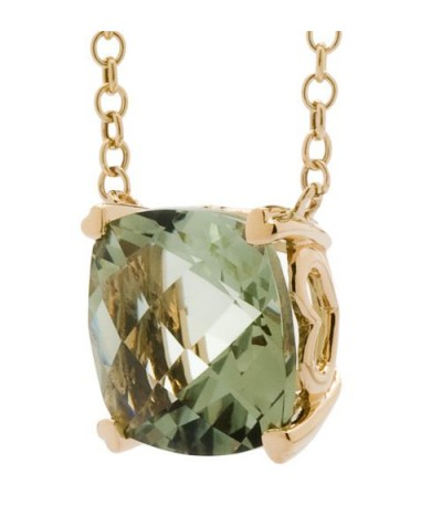 7 Carat Praseolite Necklace in 14Kt Yellow Gold