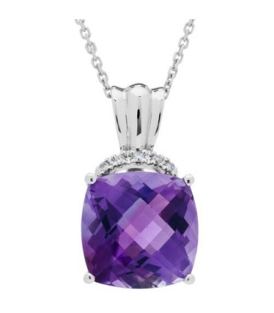 Necklaces - 5.41 Carat Cushion Cut Amethyst and Diamond Diamond Necklace 14Kt White Gold