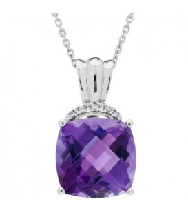 More about 5.41 Carat Cushion Cut Amethyst and Diamond Diamond Necklace 14Kt White Gold