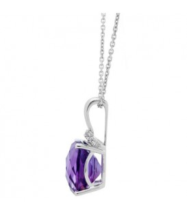 5.41 Carat Cushion Cut Amethyst and Diamond Diamond Necklace 14Kt White Gold
